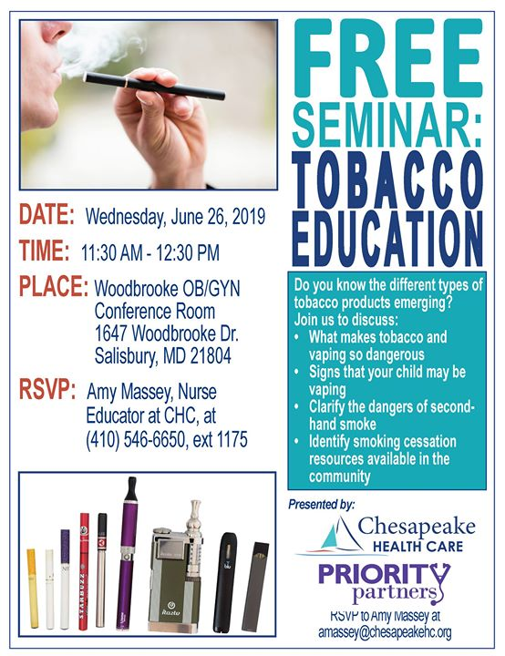 Tobacco Education Seminar   Chesapeake Healthcare Doctors MD